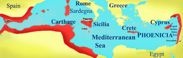 Phoenician colonies around the Mediterranean Sea (first Millennium B.C.)