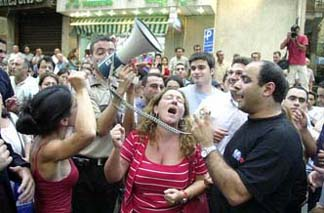Protesters against shutting down Lebanese Murr TV (MTV) 2002
