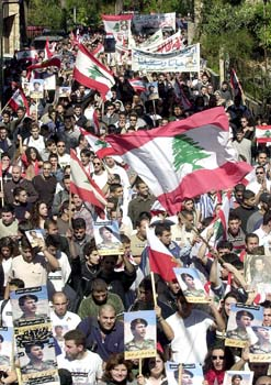 Lebanese college students and professionals lead most of the peaceful resistance demonstration against Syrian occupation of Lebanon