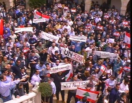 Lebanese youth demonstrating in support of the UN Security Council Resolution 520 that calls for Syrian pullout of Lebanon