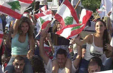 Lebanese against Syrian occupation of Lebnaon
