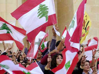 Lebanese youth demonstrating to free Lebanon from Syrian domination