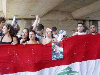 Lebanese students demonstrating to free Lebanon from Syrian control