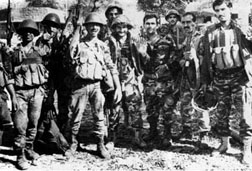 Syrian soldiers posing outside the Lebanese Presidential Palace after occupying it, October 13, 1990