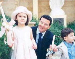 Ramzi Irani with his kids at Palms Sunday before Syrian crime